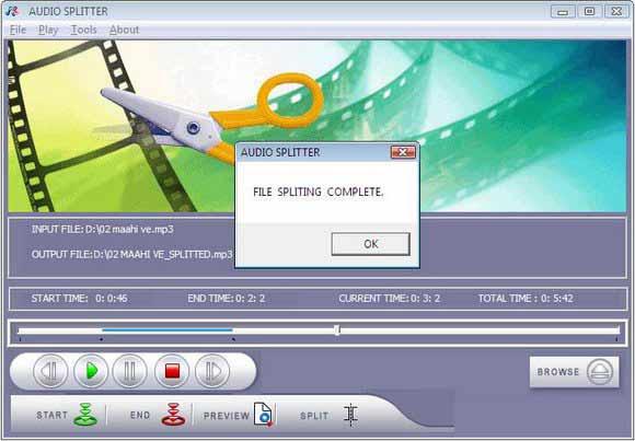 Tool to split audio file into multiple tracks
