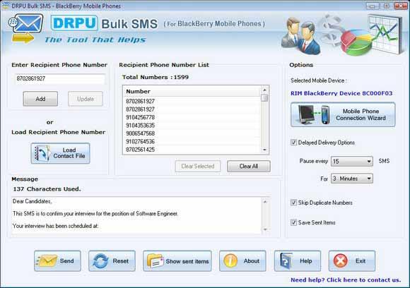 BlackBerry Mobile SMS Marketing screenshot