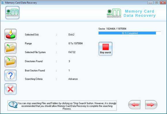 Sony PSP Memory Card Recovery Software screen shot