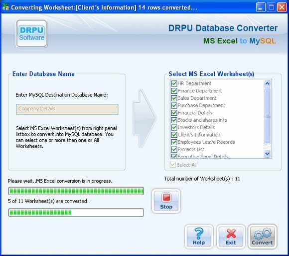 MS Excel to MySQL Database Converter screenshot