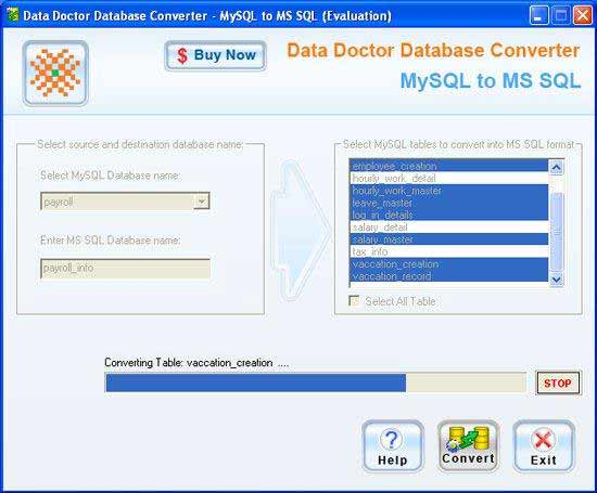 MySQL, MSSQL, converter, utility, tool, migrate, data, table, attributes, rows,